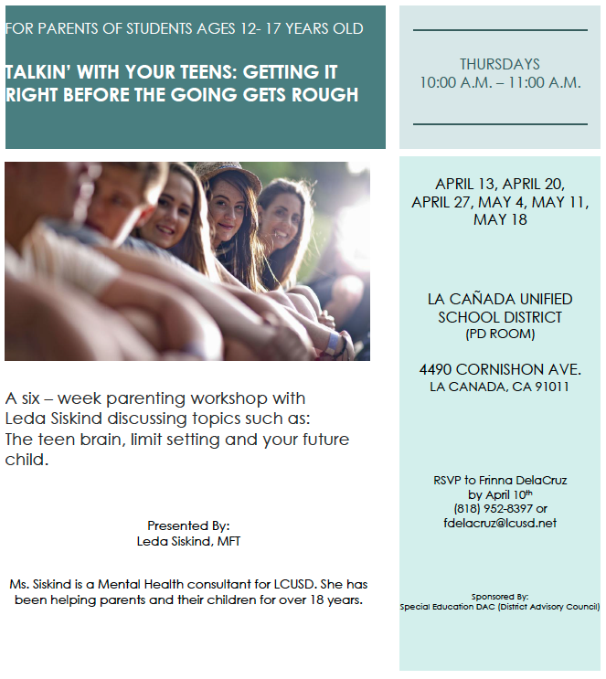 Talking With Your Teen flyer: event info with picture of 5 teenagers sitting next to one another. PDF of flyer available with link