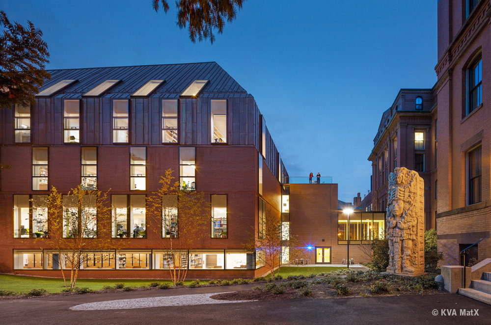 TOZZER ANTHROPOLOGY BUILDING Type:  Renovation & Addition  Size:  36,000 SF  Status:  Construction Completed 2014  Client:  Harvard University  Location:  Cambridge, MA  A LEED Gold Certified building, the strategy for the building was to add two new stories under a large copper roof volume, which rotates to capture daylight for a large internal light well (as seen to the left) around which the internal programs revolve. The program for the facility includes a library, advanced AV lab, research spaces, faculty offices, smart labs and classrooms. The copper roof form and its subtle rotation strengthen a more independent reading of the Tozzer Anthropology building as a pavilion in the Peabody Courtyard. Mr. Shelly was the Lead Designer on the light well while working with Kennedy & Violich Architecture (KVA).  Images courtesy of KVA.