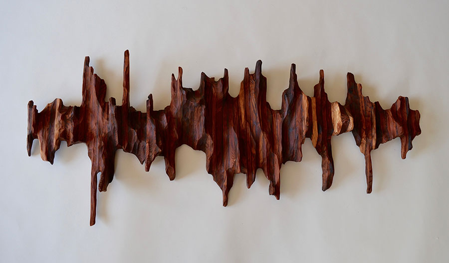 Art for AIDS auction 2017 in San Francisco: Ripple Effect wood sculpture by Lutz Hornischer