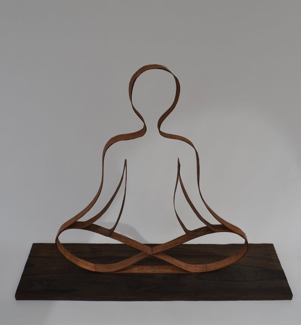 Sitting Meditation - Wood Sculpture - 22 x 26 x 8