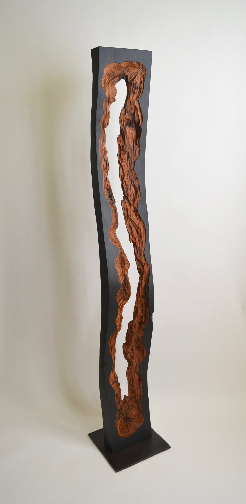 Contemporary Driftwood, 59x10x10, reclaimed redwood, at SFMOMA Artist Gallery