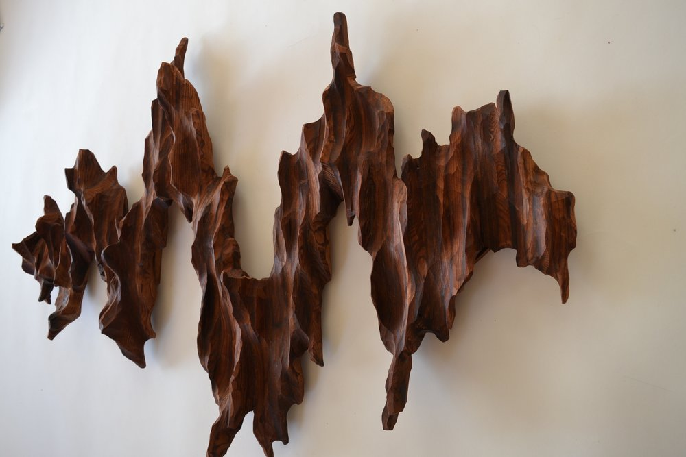 """Wild Times"" wall sculpture at ArtSpan Art Auction in San Francisco 2018 by Lutz Hornischer"