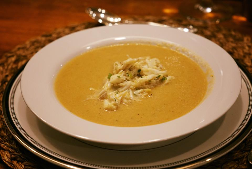 Pumpkin soup with lump crab