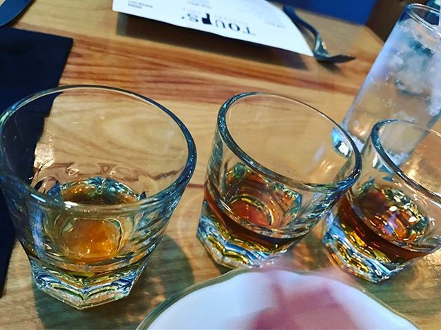 Whiskey flights to start the meal.