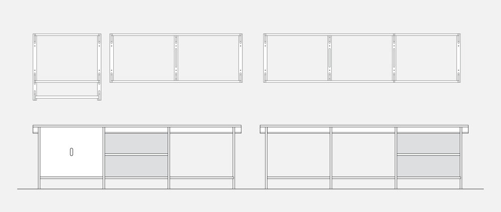 Shelving + Cabinet Drawing