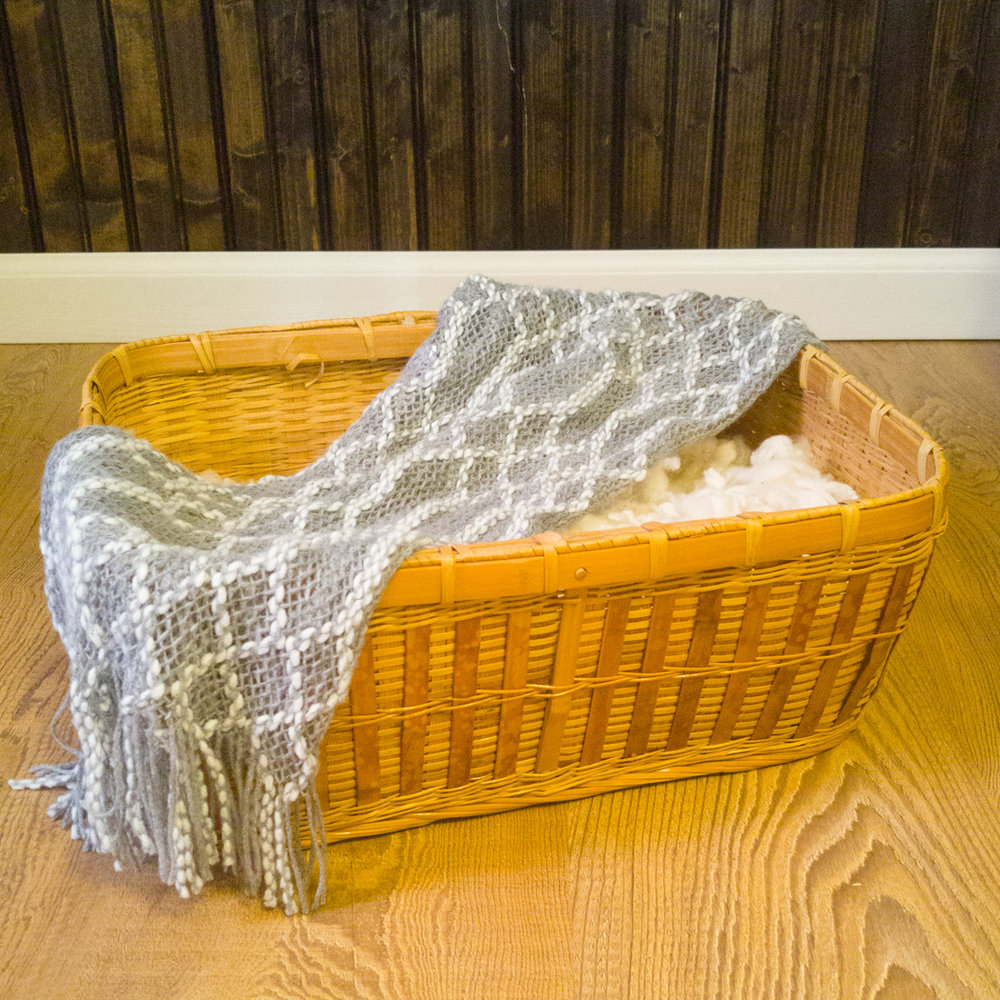 This is my Goodwill find.  I love the gray and white cowl scarf draped over the rectangle basket stuffed with clean raw wool from Rose Lane Farms here in Rocky Mount, VA. The floor is a section of scraps that was given to me and work great as a floor.  The background is the wood paneling I purchased at Lowe's and stained with walnut stain. I can either pair it with a white or gray wrap for baby or a tan pair of knit pants.