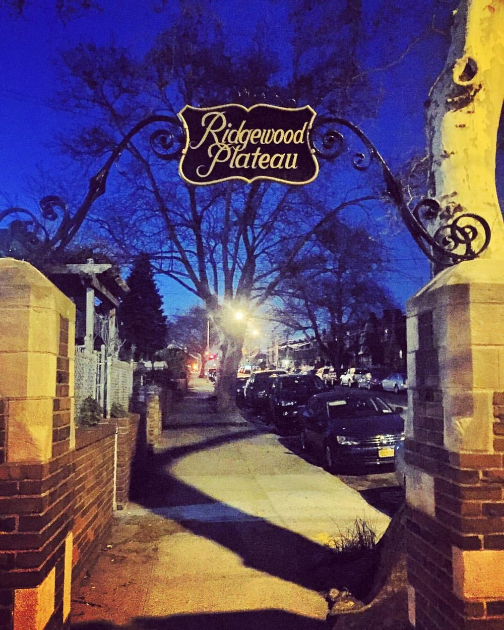 "Last night's walk to O'Neills in Maspeth (Shilelagh Law!) via the ""Ridgewood Plateau"".  These signs marking the plateau at 65th Place were restored in 2014. According to the Juniper Berry, they were originally there to entice people to move to the neighborhood in the 20s & 30s because apparently Ridgewood was a cooler neighborhood.              #maspethisamerica #maspethqueens #maspethny #queenscapes #queensnyc #queens #heartofqueens  (at O'Neills Maspeth)"