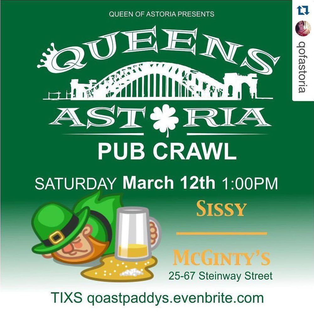 Tomorrow's the day for the @qofastoria Astoria Pub Crawl! Tickets still available (at Sissy McGinty's)