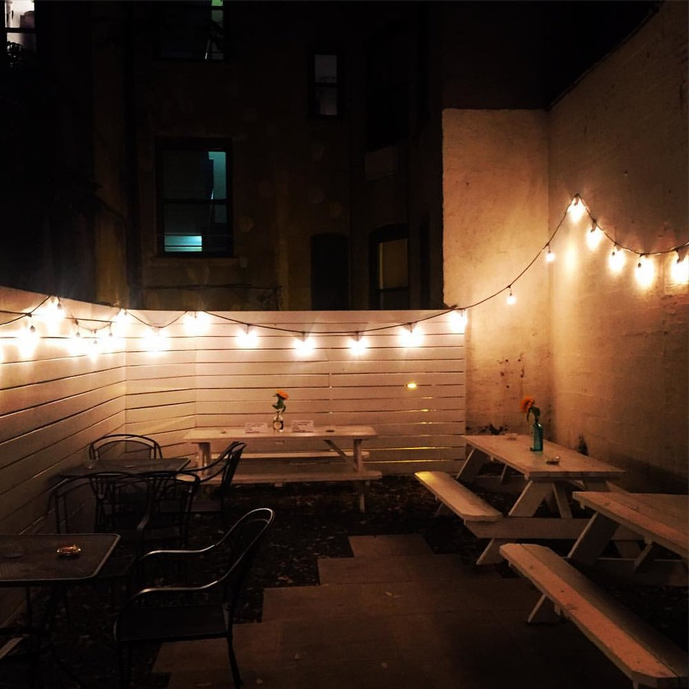 Love the backyard area Diamond Dogs Astoria.  Go check out opening night of Astoria Arts Festival and the launch of the next issue of Idlewild Magazine.