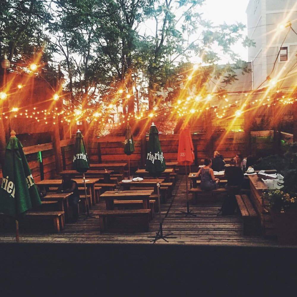 Backyard string lights at Houdini Kitchen Lab in Ridgewood.