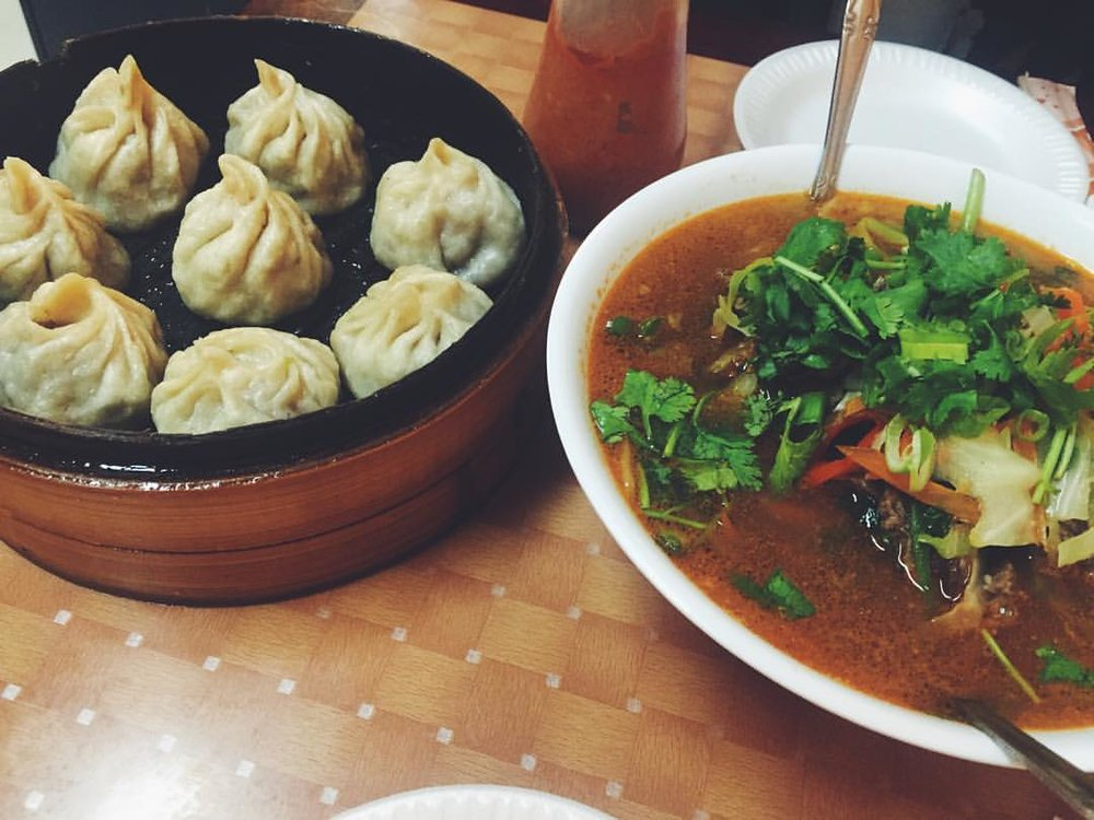 The perfect combo – momos and Tibetan noodle soup (thukpa) from Lhasa Fast Food aka the tiny Tibetan spot in the back of the Tibetan Mobile cell phone store in Jackson Heights.