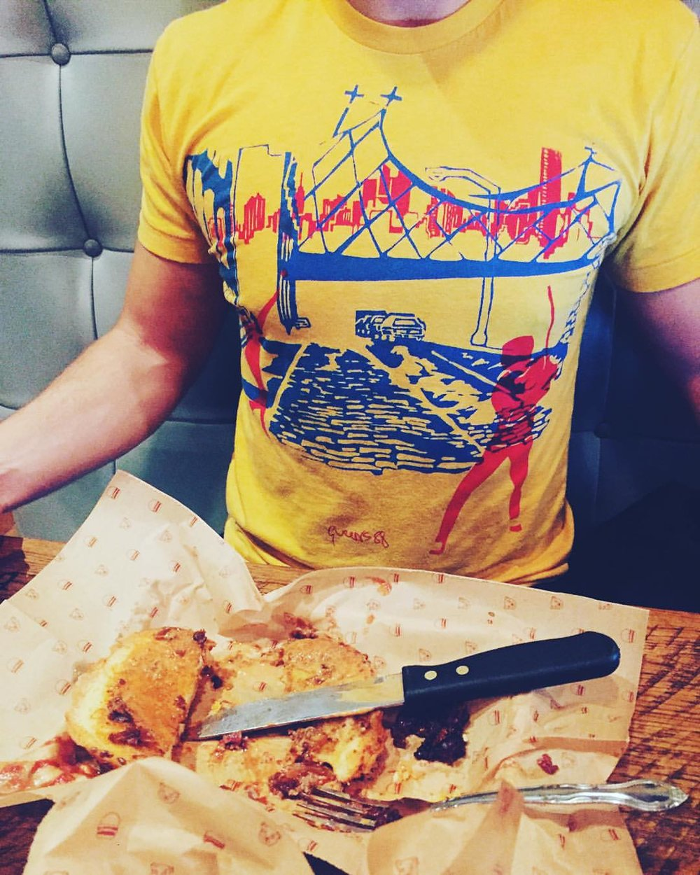 Late dinner Bareburger in Long Island City with his favorite Queens88 stickball shirt .