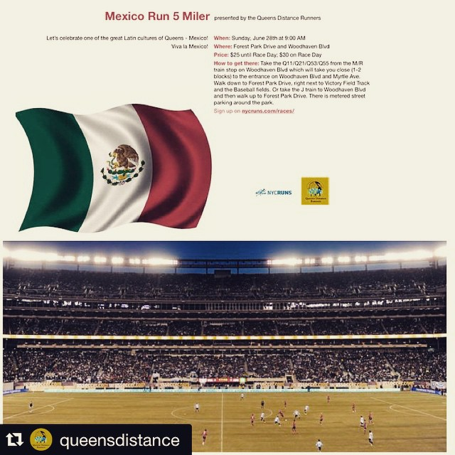 #Repost @queensdistance    Register now for $15 using qdmember10 !    ・・・  This Sunday, June 28th is our Mexico 5 Miler at Forest Park starting at 9am! Share, invite and see you there!   Register at  https://nycruns.com/races/?race=mexico-5-miler  while it's still $25!   We have plenty more useful QDR drawstring backpacks so if you sign up you'll get one as well as a yummy after race treat!   Don't miss our first cultural race put together by #queensdistance that will showcase a taste of how vibrant the Mexican community is!   In what will be our best raffle to date, we will raffle tickets for 2 to the CONCACAF GOLD CUP Quarterfinal at Metlife Stadium on Sunday, July 19th with access to TWO quarterfinal games! There may also be a piñata involved!    If you have any questions about the event, please email us at qdrunners@org! (at Forest Park, Woodhaven, Ny)