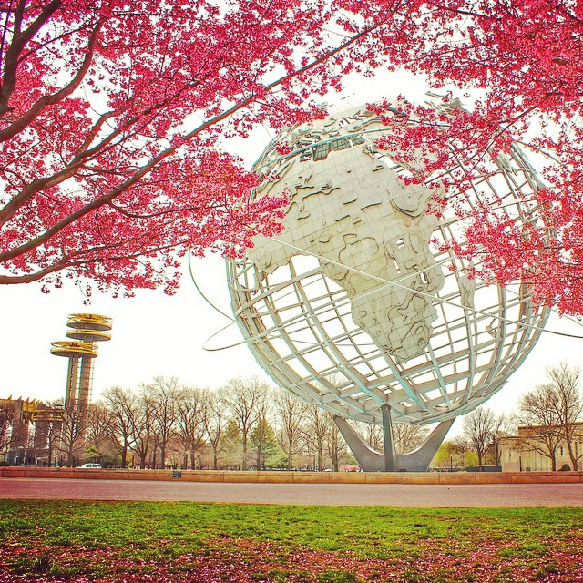 These past few days have us wishing we were closer to the start of spring! #tbt #unisphere #nyspavilion #2014 #queenscapes #queensnyc