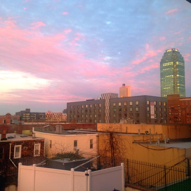 Pink skies over #LIC #queenscapes (at Vernon Blvd. Long Island City (L.I.C) Queens Nyc)