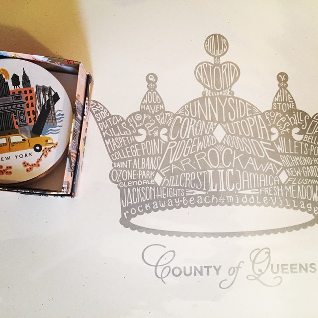 Presents from my sister–all bought at some of my favorite #Queens stores! @erinillustrates Queens print from @lockwoodshop & @riflepaperco coasters from @licliving #shoplocal #bestsisterever