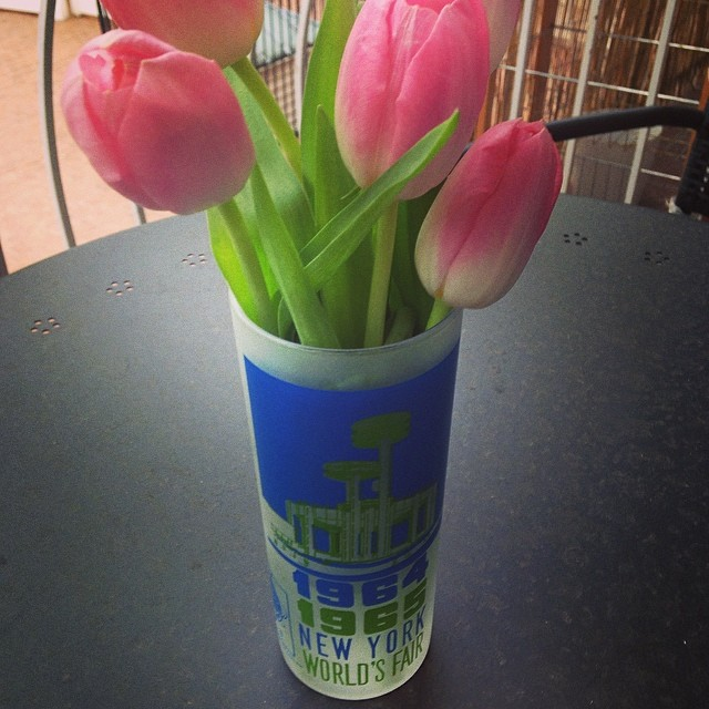 Happy 50th anniversary to the 1964/5 World's Fair!! My @queensmuseum glass doubles a a vase