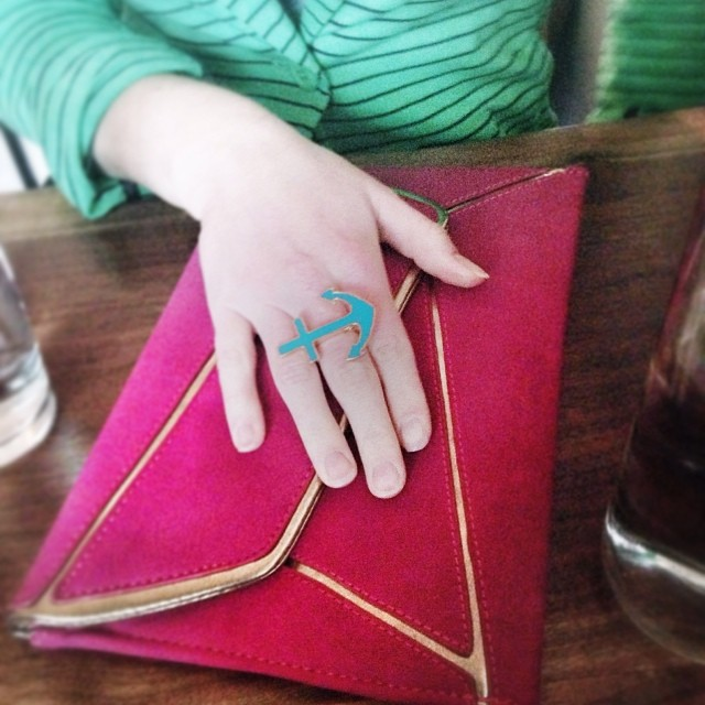 My sister's got all her Queens goodies: Anchor ring from The Blue Bungalow in Rockaway Shiraleah magenta clutch from Lockwood in Astoria