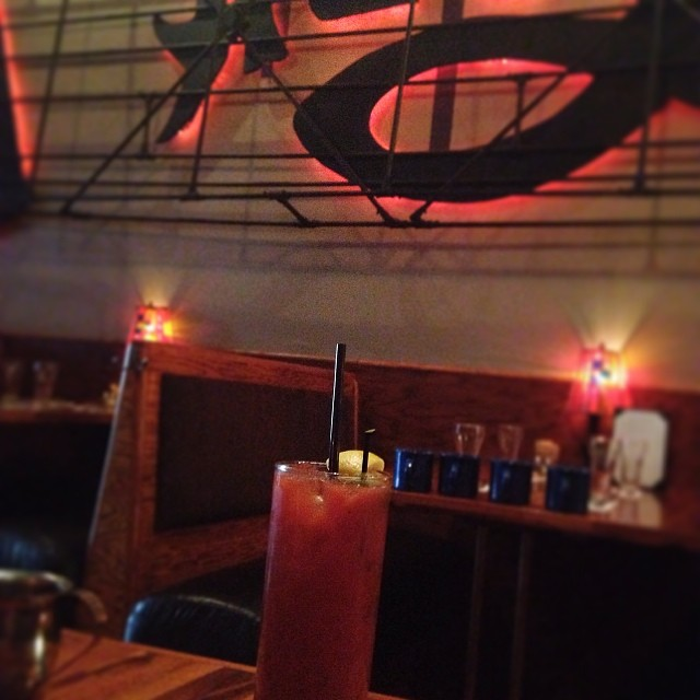 Bloody Mary time at Open Door in Long Island City.  I'm obsessed with this Pepsi cola replica sign in the background. View Queens, NY in a larger map