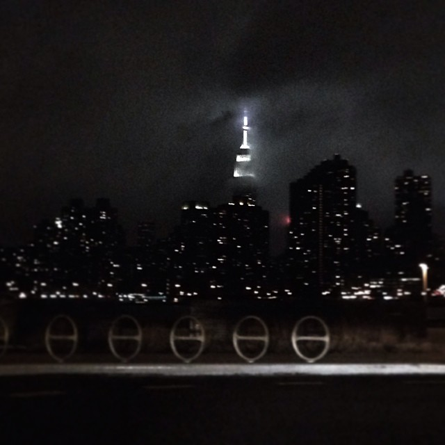 The Empire State Building from Hunters Point South park in Long Island City.
