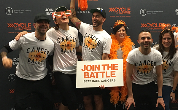 Frank Rappa's CYCLE FOR SURVIVAL Team. Frank (center) with Sarah Robb O'Hagan to his right.