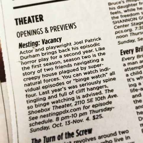 Thank you for the plug, @willametteweek ! Visit our website for more details, and get your tickets now!  #fridaythe13th #nestingpdx #nestingvacancy #pdxtheatre #originalwork #independenttheatre #newspaper #plug #teaser
