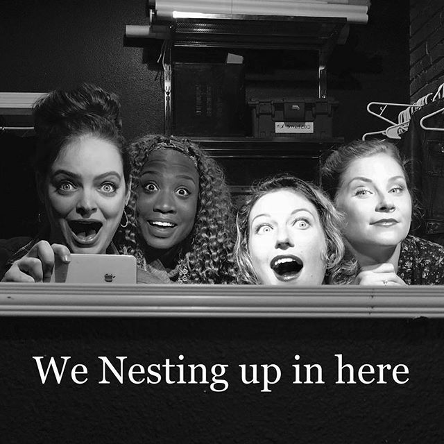 The ladies of #nestingvacancy ! Happy preview! 👻👻👻 @Regrann from @hanzieful - We open tomorrow. GET SCARED Y'ALL.  #nestingvacancy #horror #nesting #theater #icantbelieveit #actors #fridaythe13th #originalwork #independenttheatre #bts #pdxtheatre #thriller #suspense #preview #shoeboxtheater