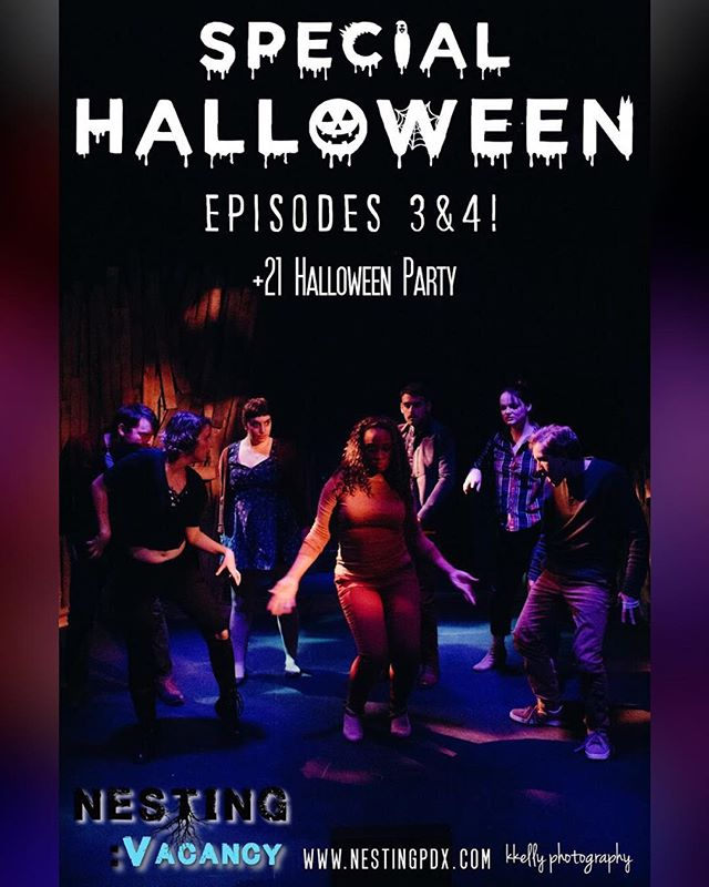 There's still tickets available if you need some spooky plans for tomorrow night! *psssst!* There's a sweet prize for our costume party contest during the after party! #nestingpdx #nestingvacancy #halloween #halloweenparty #originalwork #independenttheatre #flyer #party #suspense #horror #thriller #halloweenplans #dancedancedance #getspooky #pdxtheatre #actors #shoeboxtheater