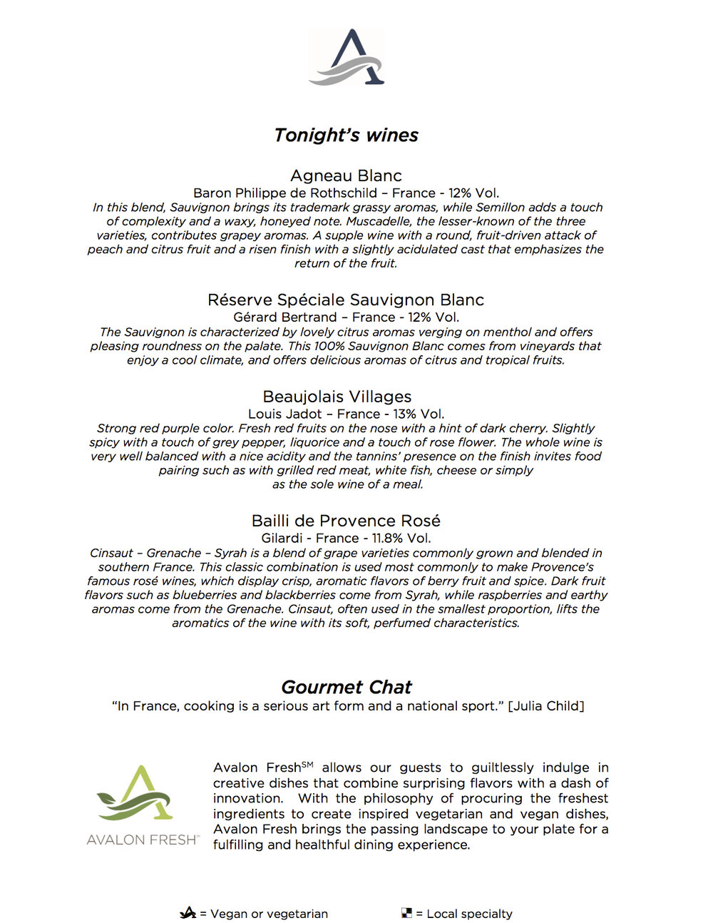 Dinner Menu Sample