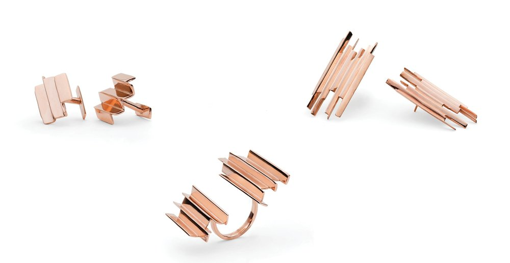 Ifeanyi Oganwu.  Cityscapes , 2016. 9kt rose gold ring, earrings, and cufflinks.  Courtesy Expand Design Ltd. and Elisabetta Cipriani.