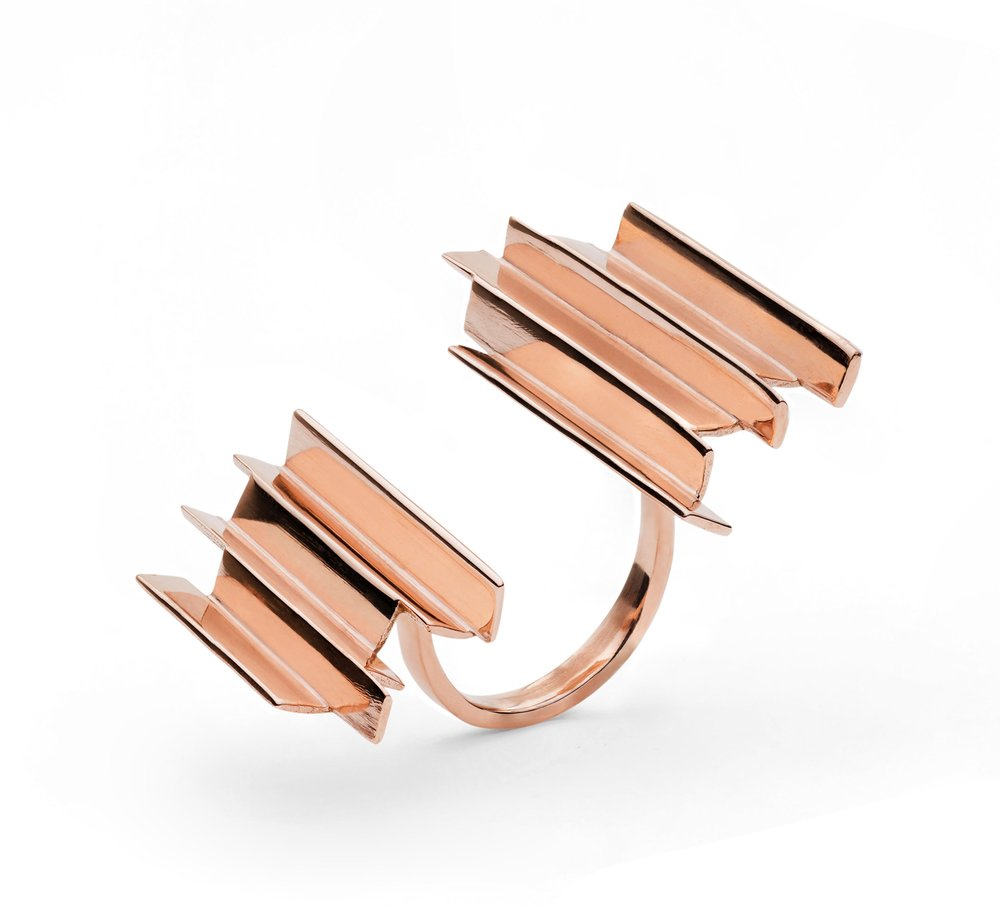 Ifeanyi Oganwu,   Cityscapes  , 2016. 9kt rose   gold ring. Edition of 12.   Courtesy Expand Design Ltd.   and Elisabetta Cipriani.