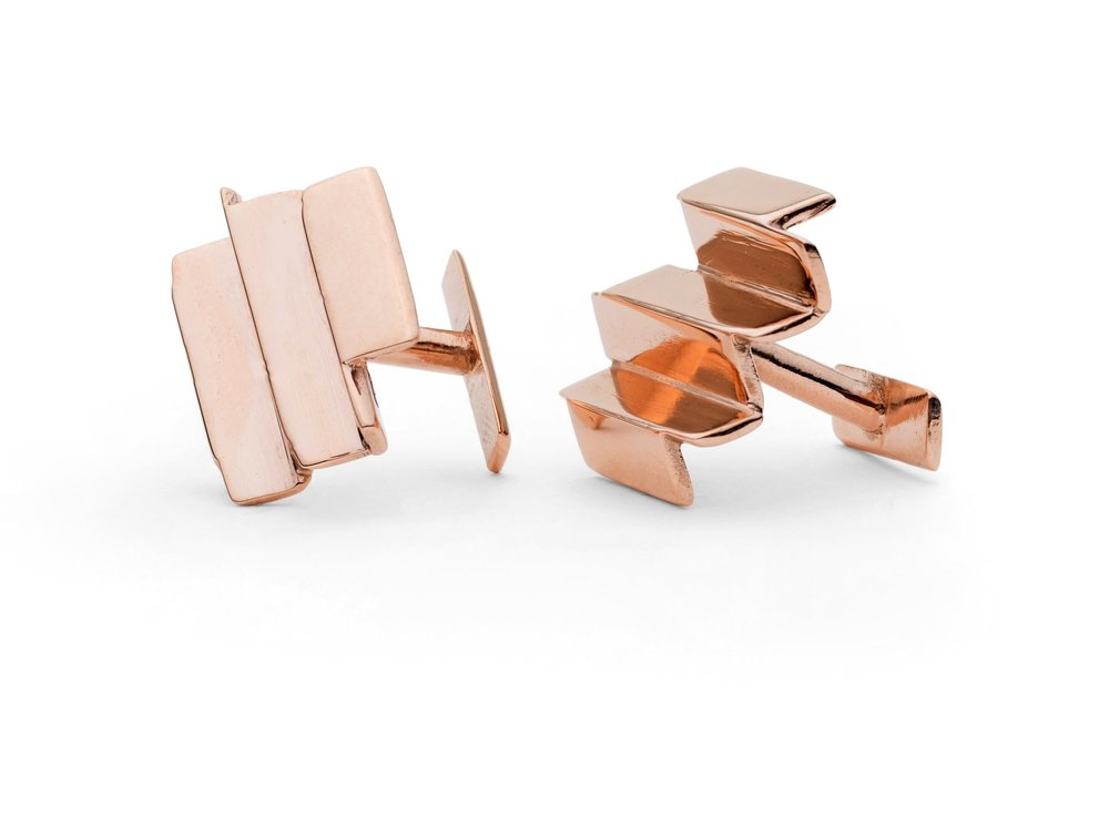 Ifeanyi Oganwu,  Cityscapes , 2016. 9kt rose gold cuff links. Edition of 12. Courtesy Expand Design Ltd. and Elisabetta Cipriani.