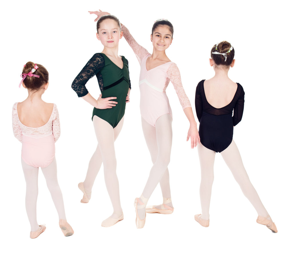 """Aurora"" 3/4 Length Lace Sleeved Leotard with Velvet Inset - Custom Designed Leotards - Child and Adult Sizes"