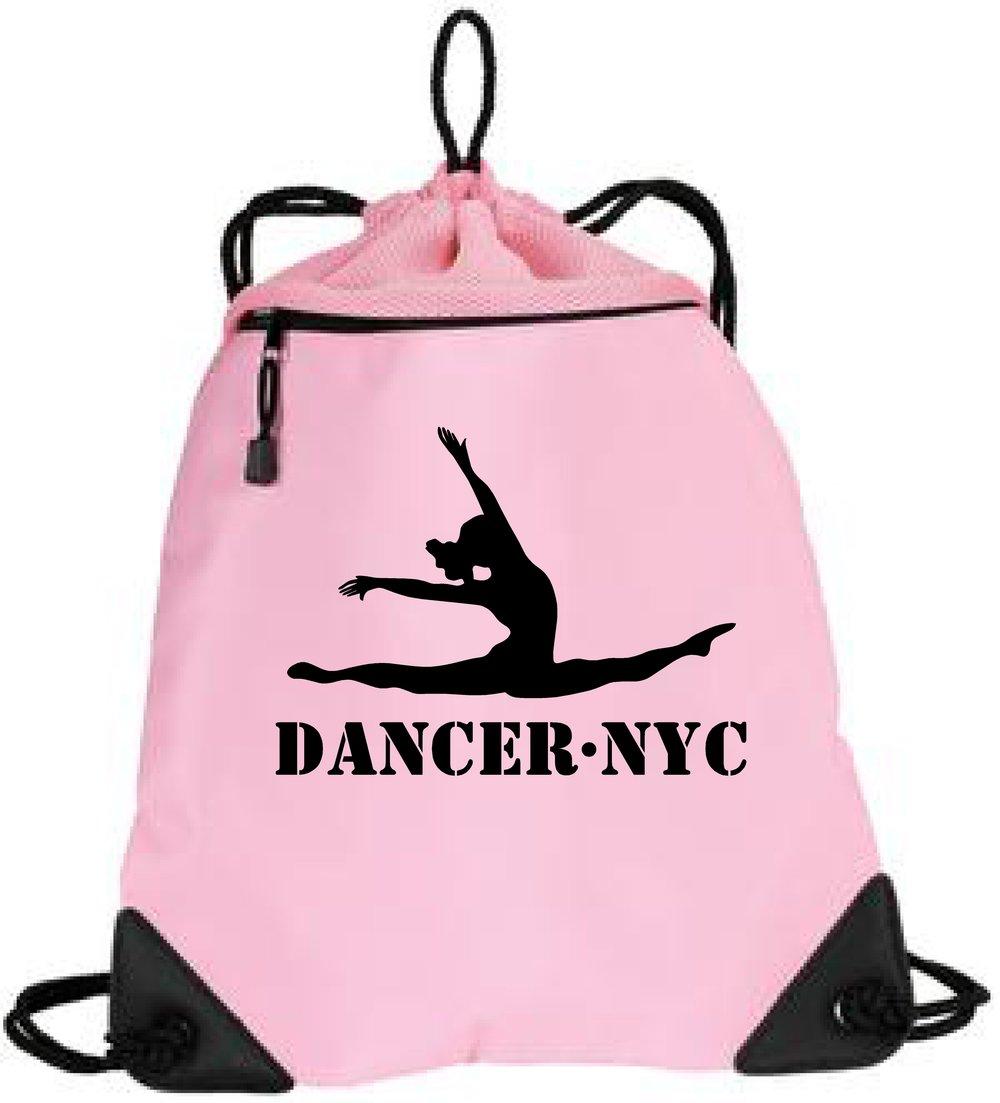 Dancer.NYC Drawstring Tote Bag 1- PINK - 100% polyester microfiber and air mesh