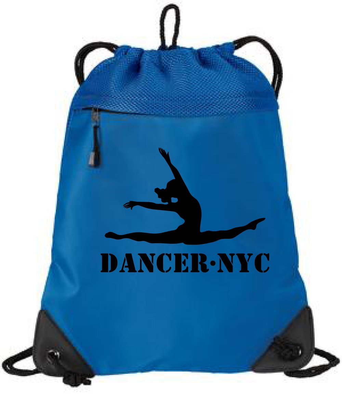 Dancer.NYC Drawstring Tote Bag 1- BLUE - 100% polyester microfiber and air mesh
