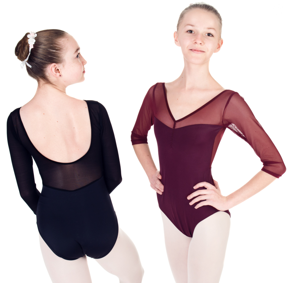 "Dance Leotard - ""EPAULMENT"" Leotard with Mesh - Custom Designed Dance Wear by Dancer.NYC"