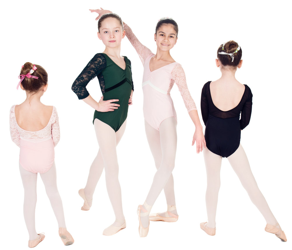 """Aurora"" 3/4 Length Lace Sleeved Leotard with Velvet Inset - Custom Designed Leotards - Child and Adult Sizes"
