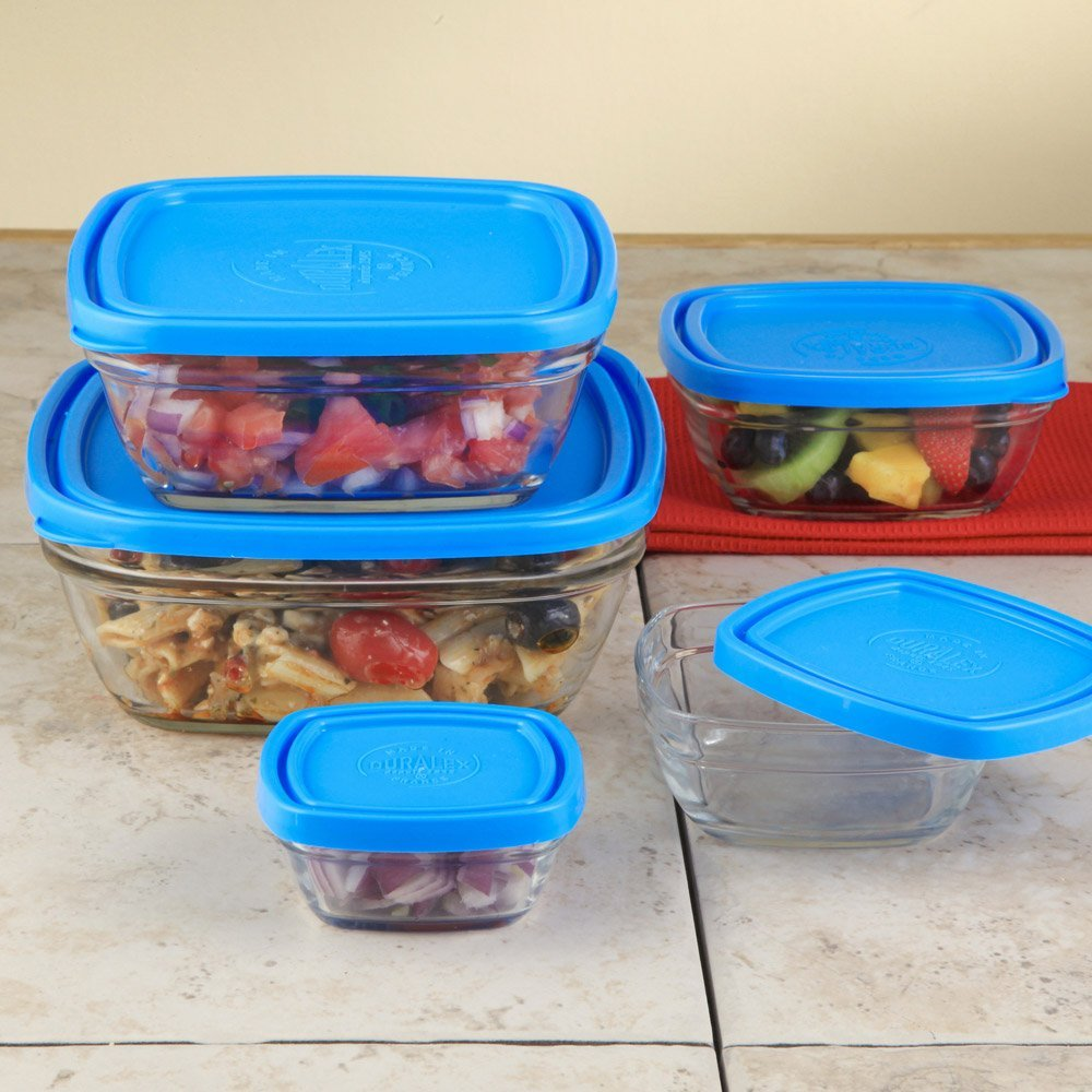 Duralex Lys 5-Piece Square Bowl with Lids Set