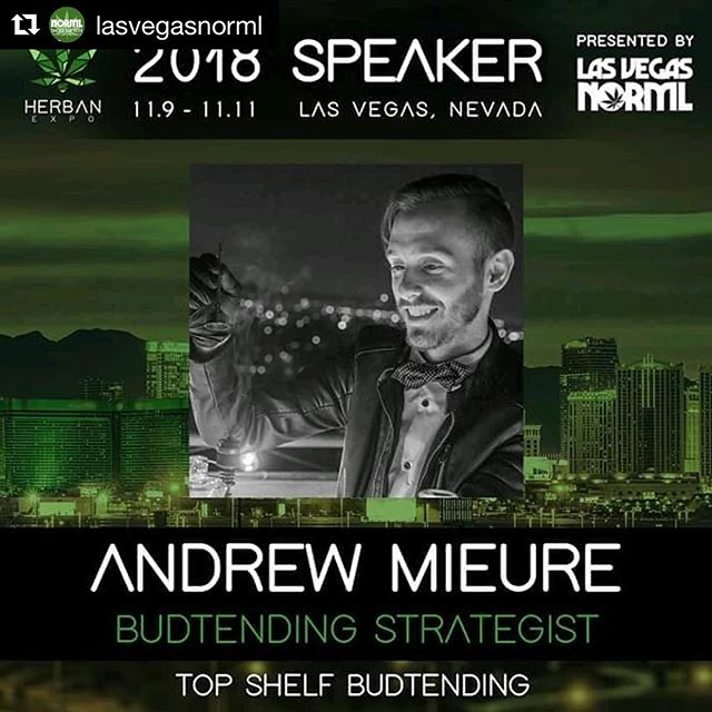 #Repost @lasvegasnorml ・・・ @herbanexpo SPEAKER DROP 🚬🍸 Andrew Mieure, Budtending Strategist from @topshelfbudtending will be speaking Saturday November 10th on the Social Use panel! Andrew's ingenuity and consumer oriented strategies are incredible & we can't wait to see him lead the way for social use across the country !👏📚🎓 Remember, you can register for free now by going to HerbanExpo.com (link in bio)  #HerbanExpo #LasVegasNORML #cannabisconvention #cannabiseducation #cannabiscommunity #topshelfbudtending #norml #420friendly #budtender #dabber #lasvegas #cannabis #weed #hospitality #hospitalitymanagement #cannabisculture #cannabisevents #budtenderlife #consumesocially #convention #expo