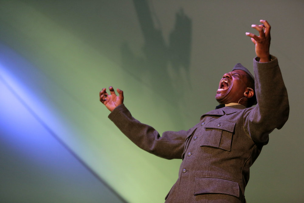 Keith Henley performs on stage as Sgt. Henry Johnson at the High Plains Chautauqua, Echoes of World War 1 event, at Aims Community College in Greeley, July 2017. Sgt. Henry Johnson was a heroic black solider who was awarded the Congressional Medal of Honor by President Barak Obama in 2015 (Greeley Tribune Newspaper).
