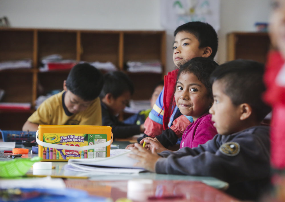 Students work on an activity at a preschool in Tierra Linda, a small community in Guatemala on October 17, 2018. Education in Guatemala is not free, and many children who live in rural areas of Guatemala do not have access to sustainable, affordable education.