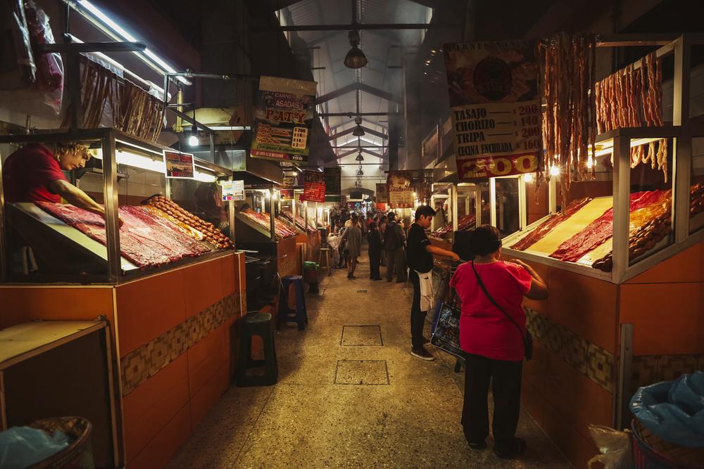 Scene from a meat market in Oaxaca, Mexico, on October 29, 2018.