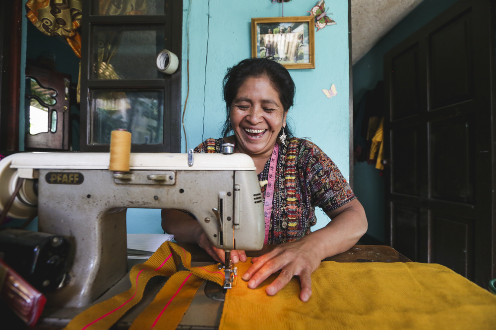 A woman artisan sews a bag in Panajachel, Guatemala, on November 14, 2018. This woman is apart of the Artisan Program through Mayan Families where the organization purchases handcrafted beaded jewelry, handbags, houseware, accessories and more, directly from local Guatemalans at an ethically determined price and sells them both locally and internationally so the artisans have a change to grow and expand their market.