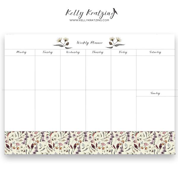 Wildflower Weekly Desk Planner