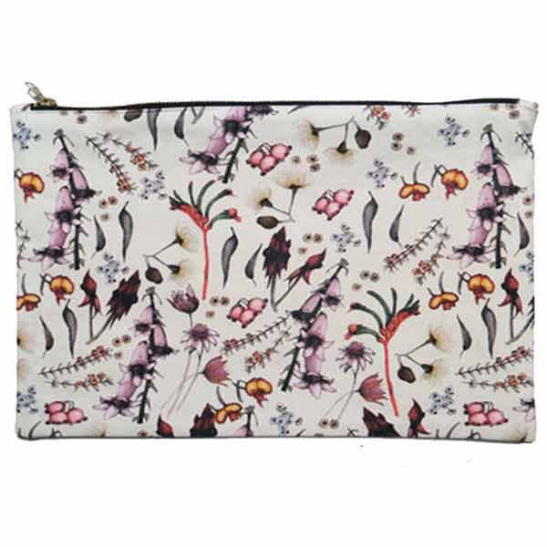 LARGE Wildflower Cotton Pouch - 23 x 37 cm