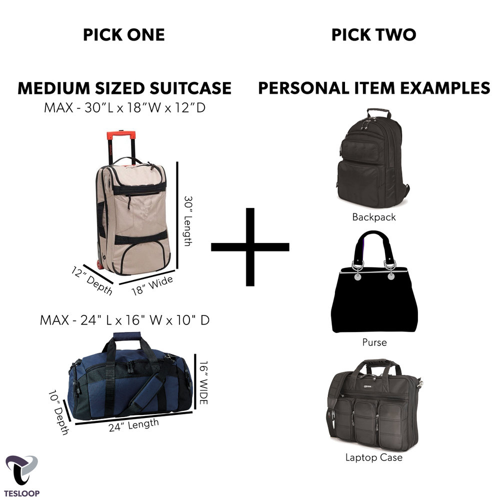 Luggage Considerations - Each Tesloop passenger is allowed one medium sized suitcase and two personal items. Slightly more than an airline carry-on. If you are looking to bring more luggage let us know.