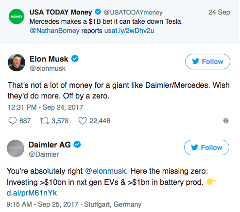 ELON MUSK CHALLENGES DAIMLER AG TO INCREASE THEIR INVESTMENT IN EVS.