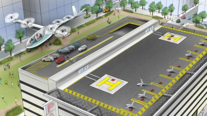 Artist rendering of a VTOL aircraft station