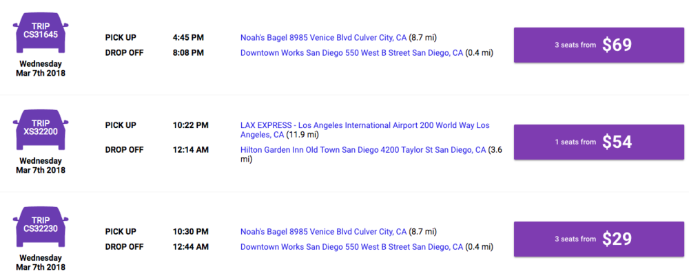 Booking and Pricing Example. Pricing is subject to change.