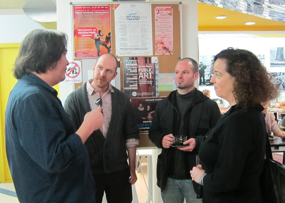 Zach Morris & Tom Pearson of Third Rail Projects with Susan Katz of CEC Artslink in Almaty, Kazakhstan in 2013.